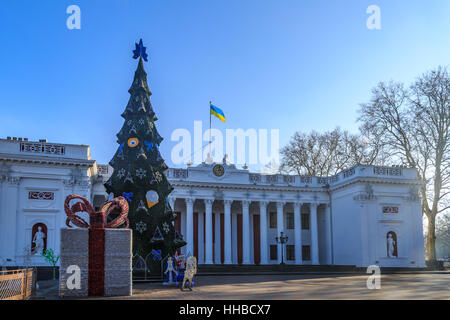 Odessa city hall with christmas tree and decorations in Odessa, Ukraine. - Stock Photo