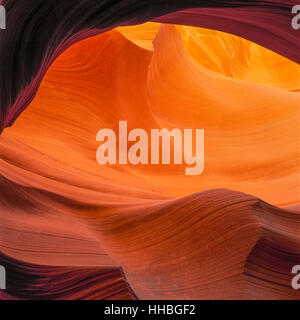 swirling sandstone formations glowing in lower antelope canyon on the navajo indian reservation near page, arizona - Stock Photo