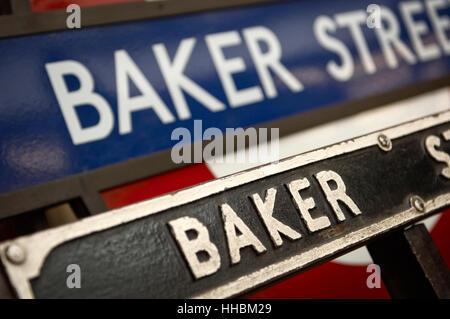 station, metro, europe, london, england, tube, baker, sign, underground, seat, - Stock Photo