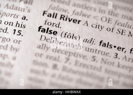 Selective focus on the word 'false'. Many more word photos in my portfolio... - Stock Photo