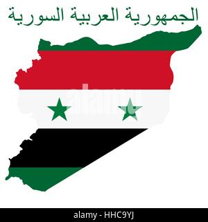 Flag on a background map of the Syrian Arab Republic. The inscription in Arabic means Syrian Arab Republic. The - Stock Photo