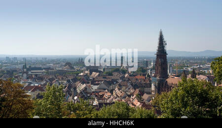 sunny panoramic aerial view of Freiburg im Breisgau, a city in Southern Germany - Stock Photo