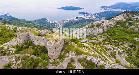 Kosmac fortress in Montenegro, above Becici and Budva. - Stock Photo