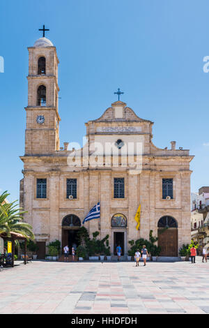 The Greek Orthodox Cathedral of Chania in Plateia Athinagora, Chania, Crete, Greece - Stock Photo