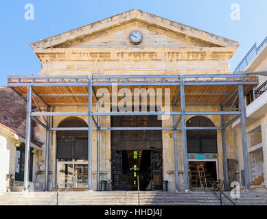 Supported facade of the Central Municipal Market Chania, Crete, Greece - Stock Photo