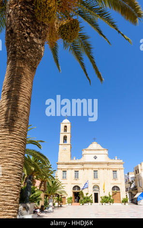Palm famed view of the Greek Orthodox Cathedral of Chania in Plateia Athinagora, Chania, Crete, Greece - Stock Photo