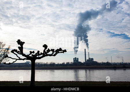 Power plant Lausward at the Rhine in winter - Stock Photo