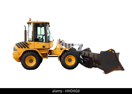 skid steer loader with snow pusher attachment, isolated, with clipping path - Stock Photo