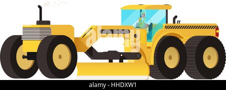 Motor grader. Heavy equipment vehicle isolated color vector illustration. - Stock Photo