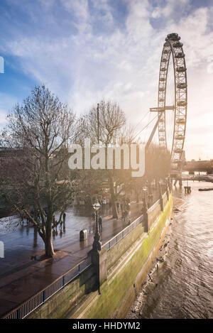 London Eye (Millennium Wheel) at sunset, London Borough of Lambeth, UK - Stock Photo