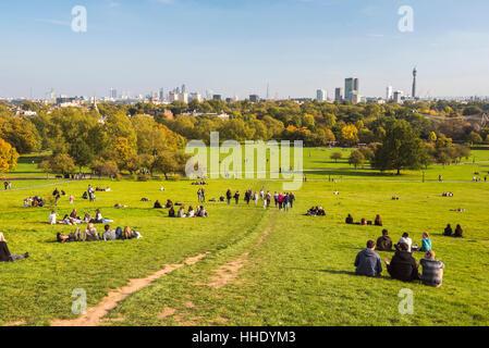 London City Skyline in autumn seen from Primrose Hill, Chalk Farm, Borough of Camden, London, UK - Stock Photo