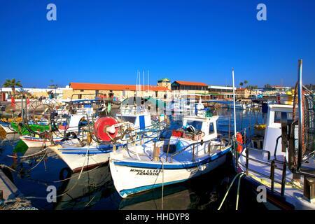 Paphos Harbour, Paphos, Cyprus, Eastern Mediterranean Sea - Stock Photo