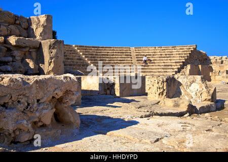 Roman Odeon, Kato Paphos Archaeological Park, UNESCO, Paphos, Cyprus, Eastern Mediterranean - Stock Photo