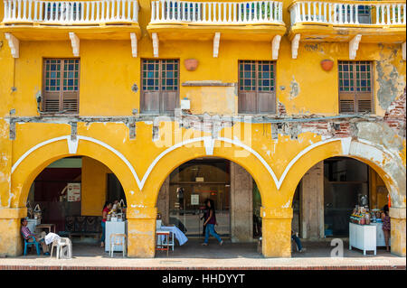 Traditional arches in the colorful old town of Cartagena, Colombia - Stock Photo