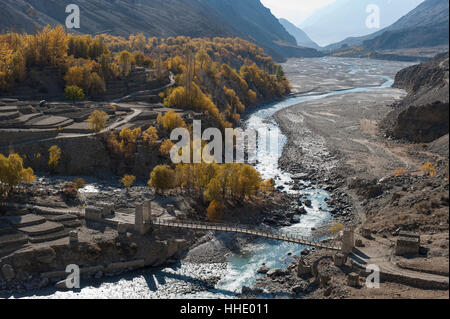 Hushe village beside a meandering river, Gilgit-Baltistan, northern Pakistan - Stock Photo