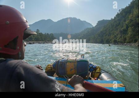 Rafting trip on the Trisuli River, Nepal - Stock Photo