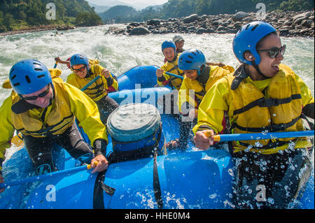 Rafting trip on the Trisuli River, Nepal - Stock Photo