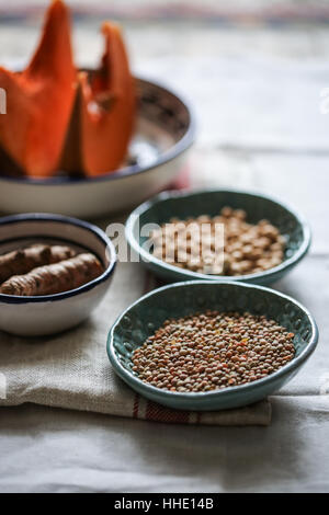 Lentils in a blue bowl - Stock Photo
