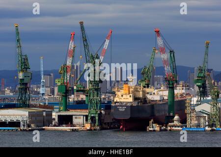 Kawasaki Kobe Shipyard, Honshu Island, Japan - Stock Photo