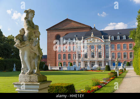 Basilica of Constantine and Rococo Palace, Trier, Rhineland-Palatinate, Germany - Stock Photo