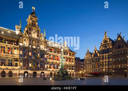 Town Hall (Stadhuis) in Main Market Square, Antwerp, Flanders, Belgium - Stock Photo
