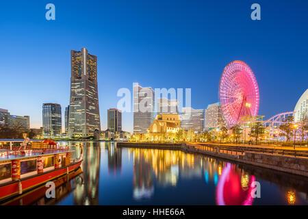 Night view of Yokohama skyline in Minato Mirai, Yokohama, Japan. - Stock Photo