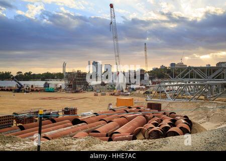 Construction work on Matagarup Bridge beside Optus Stadium in Burswood - Stock Photo