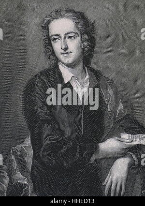 Thomas Gray (1716-61), English poet, remembered for his Elegy Written in a Country Churchyard - Stock Photo