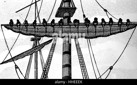 Engraving depicting the fitting a ship with sails made of sailcloth from Bridport. Dated 19th Century - Stock Photo