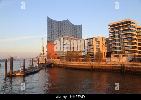 View on Elbphilharmonie and modern apartement buildings, Harbour City, Hamburg, Germany - Stock Photo