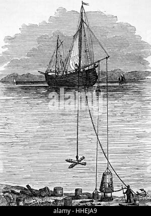 Representation of Halley's diving bell, showing how the barrel of air was lowered to the sea bed and connected to - Stock Photo
