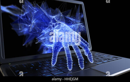 Stealing personal data through a laptop concept for computer hacker, network security and electronic banking security - Stock Photo