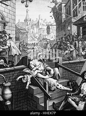 Engraving titled 'Gin Lane' by William Hogarth - Stock Photo