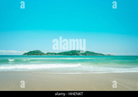 Campeche Island: Beach and an island in the background on a beautiful sunny day landscape. - Stock Photo