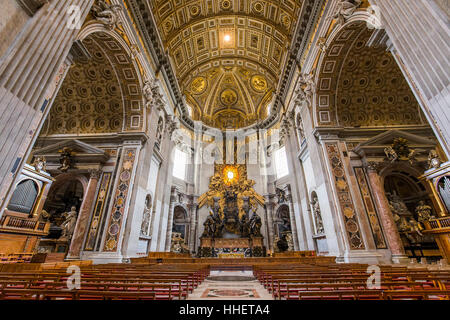 VATICAN CITY, VATICAN – JUNE 15, 2015 : interiors and architectural details of Basilica of saint Peter, june 15, - Stock Photo