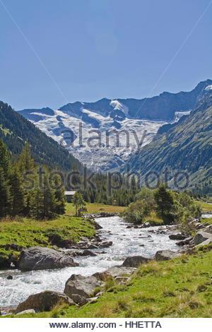 austrians, torrent, mountain, austrians, meadows, torrent, glacier, unclouded, - Stock Photo