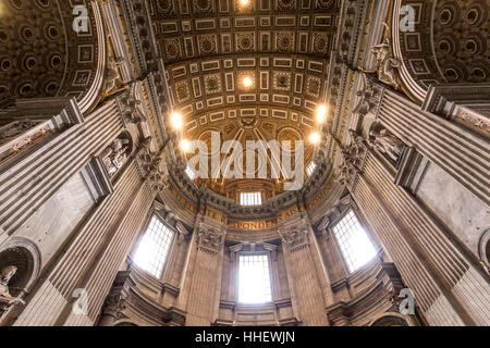 VATICAN CITY, VATICAN – JUNE 15, 2015 : interiors and architectural details of Basilica of saint Peter, june 15, - Stock Photo