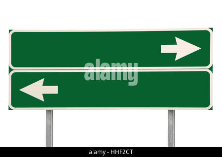 Crossroads Road Sign, Two Arrows Green Isolated Blank Empty Copy Space Background Closeup - Stock Photo