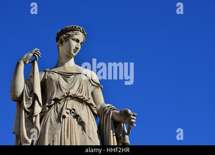 Ancient Roman or Greek goddess marble statue (with copy space) - Stock Photo