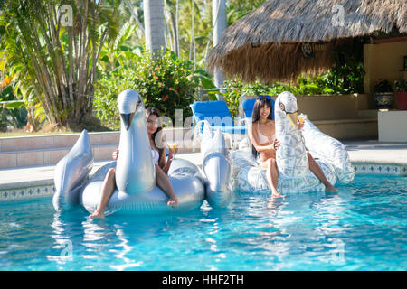 Pool Party with 2 young attractive women on giant inflatable bird pool floats, Mexico - Stock Photo