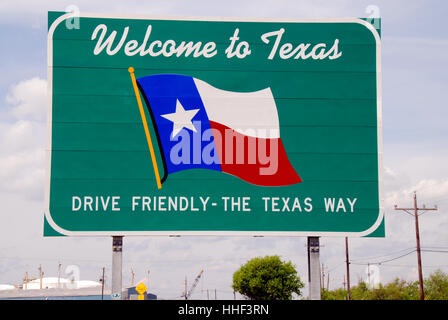 traffic, transportation, flag, border, welcome, shield, texas, drive, traffic, - Stock Photo