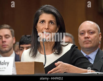 Governor Nikki R. Haley (Republican of South Carolina) testifies before the United States Senate Committee on Foreign - Stock Photo