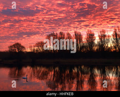 Peterborough, UK. 18th January 2017. The sky looked on fire this morning, as it made the clouds glow red, just before - Stock Photo
