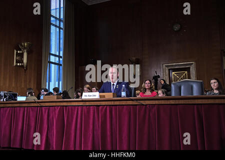Washington, Us. 17th Jan, 2017. United States Representative Ryan Zinke (Republican of Montana) testifies before - Stock Photo