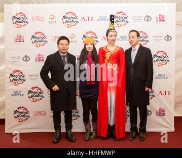 London, UK. 18th January, 2017. Guest arrive to attend the VIP launch of the Magic Lantern Festival at Chiswick - Stock Photo