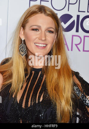Los Angeles, California, USA. 18th January 2017. Blake Lively 103 arriving at the People's Choice Awards 2017 at - Stock Photo