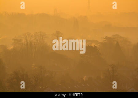 Wimbledon London, UK. 19th Jan, 2017. Wimbledon treescape bathed in misty morning sunshine as London is put on alert - Stock Photo