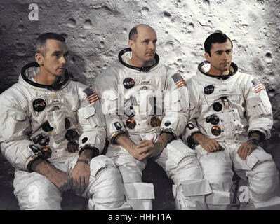 Kennedy Space Center, FL - April 3, 1969 -- The prime crew of the Apollo 10 lunar orbit mission at the Kennedy Space - Stock Photo