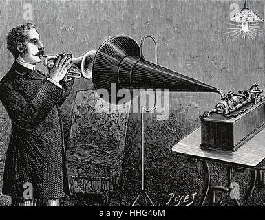 Recording A Trumpet Player Using Thomas Edison Phonograph Paris 1889