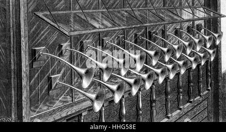 Ader's Fanfare: detailed view of the receiver. Demonstrated at the Paris Exposition of 1889. - Stock Photo